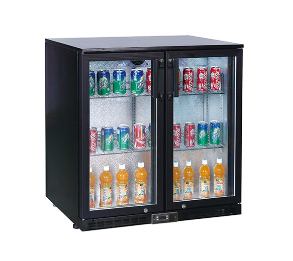 Koldbox Hinged Double Door Bar Bottle Cooler in Black