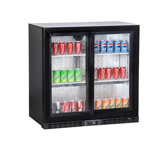 Koldbox Sliding Double Door Bar Bottle Cooler in Black