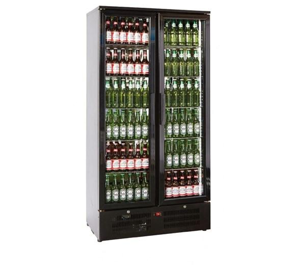 Tall Double Door Bottle Cooler Back Bar Fridge with Hinged Doors in Black