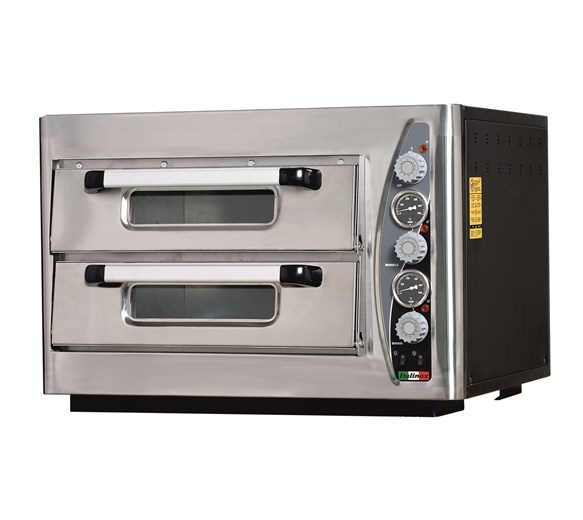 Italinox MK502 Twin Deck Single Phase Electric Pizza Oven. 8 x 12 Inch Pizzas