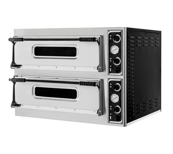"""Italinox Basic 44 Twin Deck Single Phase Electric Pizza Oven 8 x 13"""" Pizzas"""