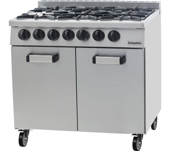 Chef King Ozti Heavy Duty Six Burner Natural Gas Range Cooker with Castors