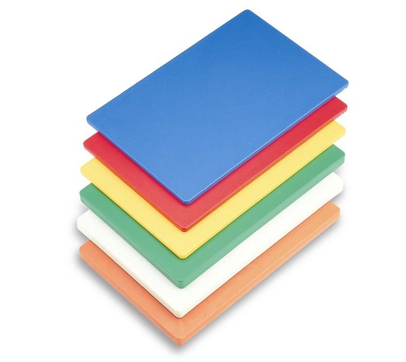 """Quattro Low Density Colour Coded 1/2"""" thick PE Cutting/Chopping Board PACK OF 4"""