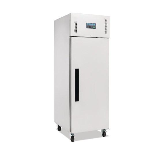 Polar 600  Litre Stainless Steel Single Door Catering Fridge With Fitted Castors