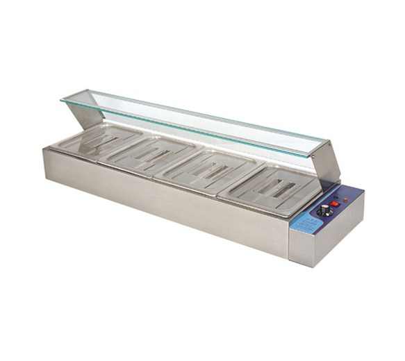 Quattro Bain Marie Heated Display Unit. 4 x 1/2 GN Pans & Lids With Glass Surround