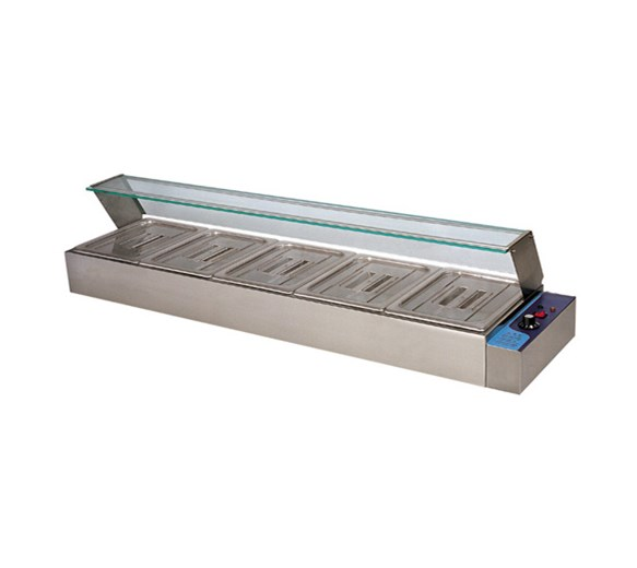 Quattro Bain Marie Heated Display Unit. 5 x 1-2 GN Pans & Lids With Glass Surround