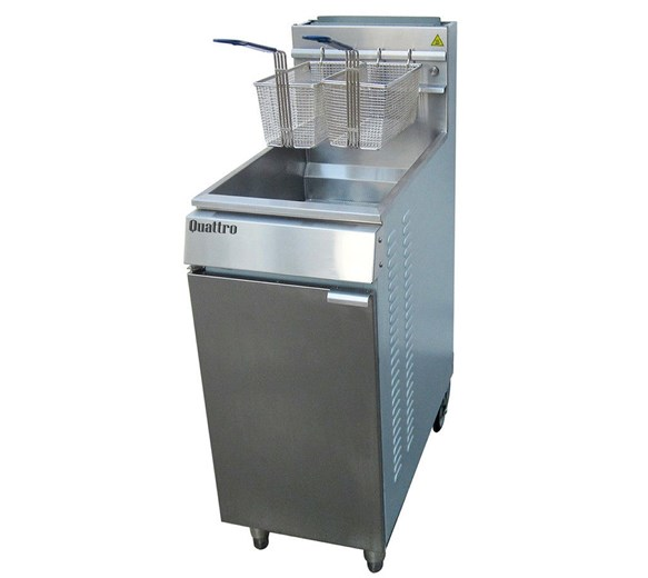 Quattro 22 Litre Gas or LPG Fryer Single Tank Twin Basket 80,000 BTU