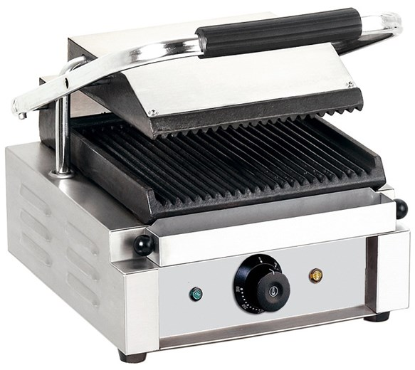 Quattro Single Panini Contact Grill Ribbed Top And Ribbed Bottom Plates