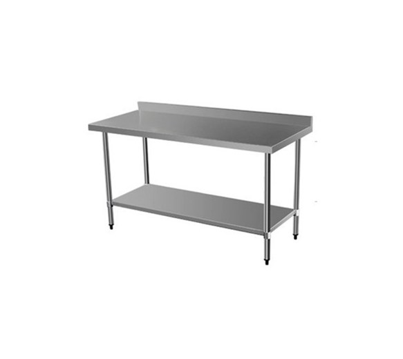 Quattro 1500mm Wide Stainless Steel Wall Bench with Upstand