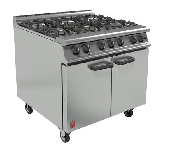 Falcon Dominator 6 Burner LPG Commercial Range Cooker with Castors