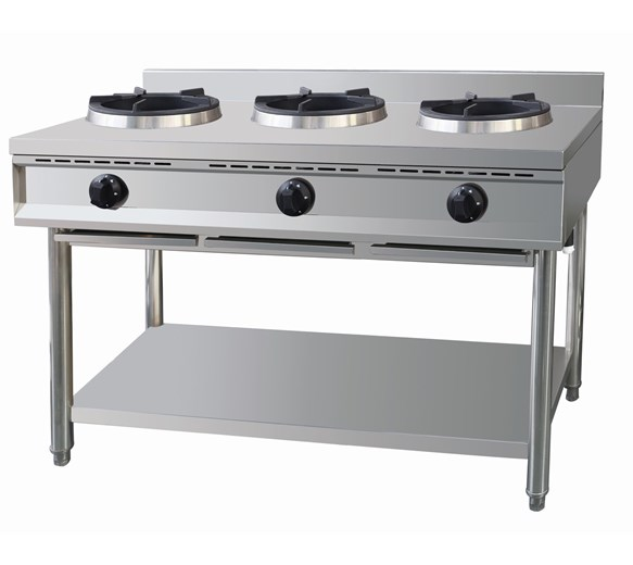 Gastrotek Stainless Steel Commercial 3 Burner Gas Wok LPG or Natural Gas