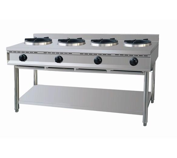 Gastrotek 4 x 15kW Stainless Steel Commercial 4 Burner Wok LPG or Natural Gas