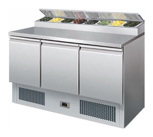 Gastroline PS300 Refrigerated Salad Pizza Prep Counter 8 x 1/6 GN Pan Size Top