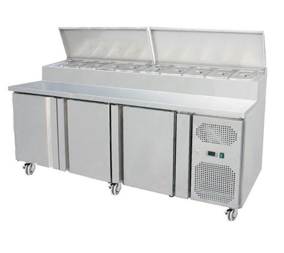 Gastroline THSH3000/700 - 3 Door Refrigerated Prep Counter With Castors