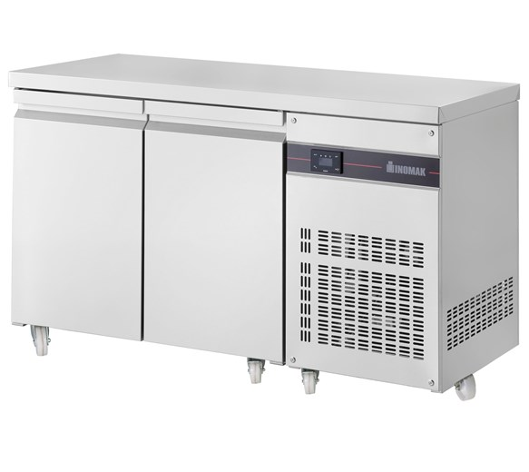 Inomak Refrigerated 2 Door 274 Litre Prep Counter 1/1 Gastronorm PN99-ECO + Castors
