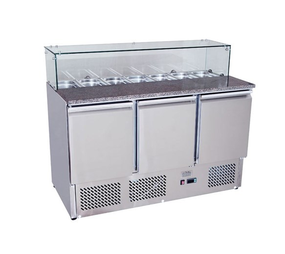 Ice-A-Cool 3 Door Pizza Prep Counter with Granite Top Glass Surround & GN pans