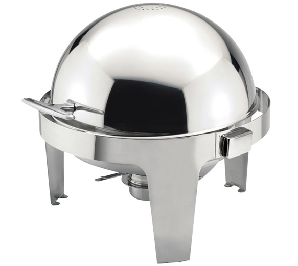 Quattro Round Roll Top Chafing Dish 6  Litre Stainless Steel