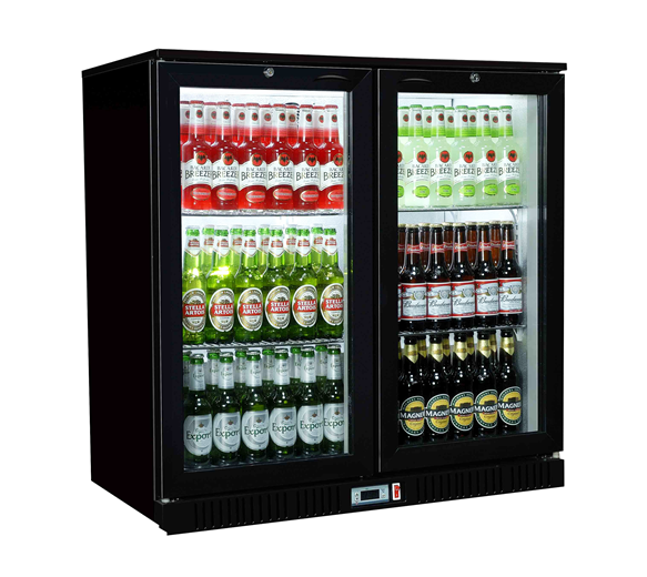 Premium Double Door Bottle Cooler Back Bar Fridge with Hinged Doors in Black