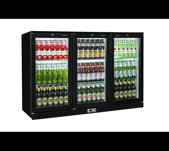 Triple Door Bottle Cooler Back Bar Fridge with Hinged Doors in Black