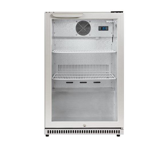 Husky C1 Premium Single Door Bottle Cooler Back Bar Cabinet - Grey - Silver Hinged Door