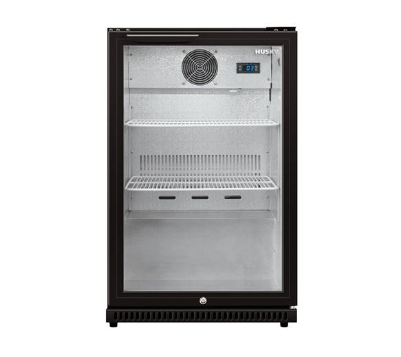 Husky C1 Premium Single Door Bottle Cooler Back Bar Cabinet - Black - Hinged Door
