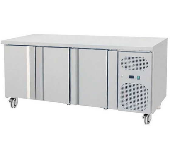 Gastroline THP3100TN 3 Door Refrigerated Prep Counter 700mm Deep With Castors