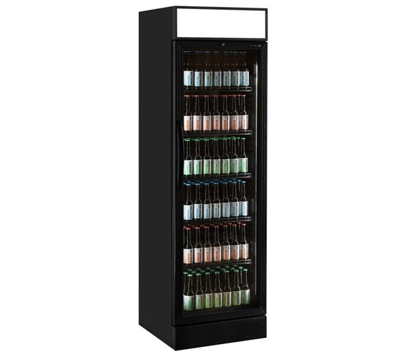 Tefcold Commercial Glass Door Display Fridge With Canopy Black CEV425