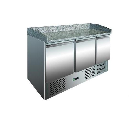 Gastroline Granite Top 3 Door Refrigerated Pizza Prep Counter