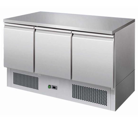 Gastroline S903 Refrigerated Prep Counter 3 Door 368 Litre - Solid St/Steel Top