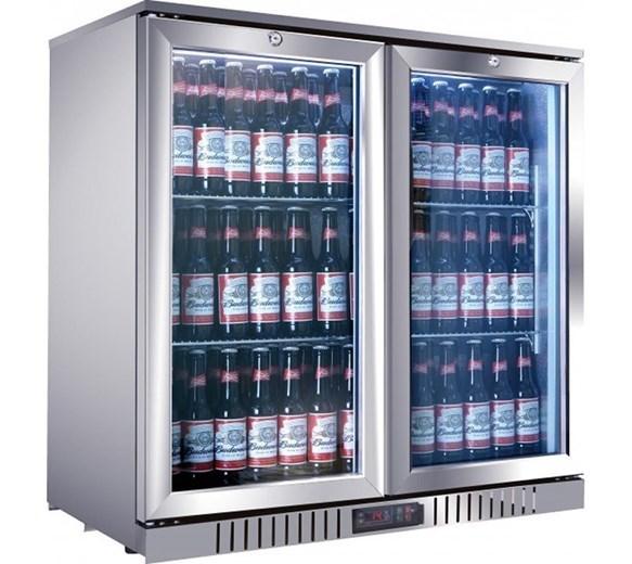 Gastroline Stainless Steel Hinged Double Door Bottle Cooler Back Bar Fridge