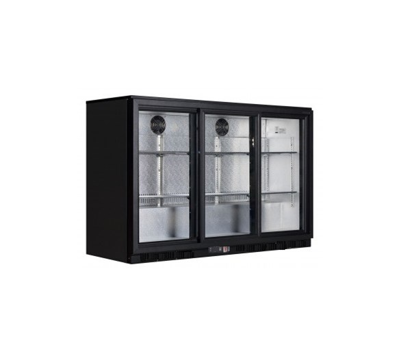 Gastroline Black Triple Door Bottle Cooler Back Bar Fridge with Sliding Doors