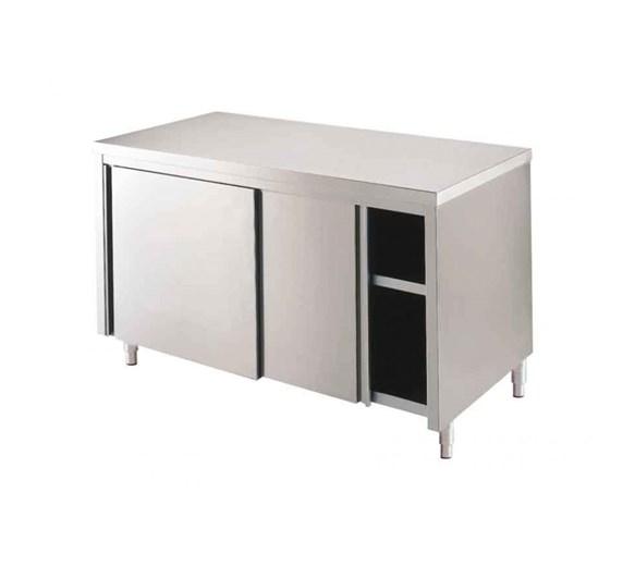 Italinox 1200mm Stainless Steel Floor Cupboard - Sliding Doors