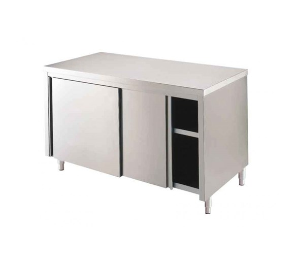 Italinox 1000mm Stainless Steel Floor Cupboard With Sliding Doors