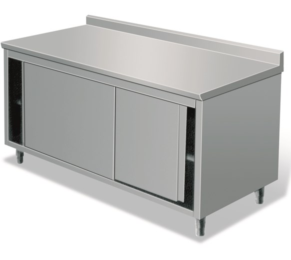 Italinox 1000mm Stainless Steel Floor Cupboard With Upstand and Sliding Doors