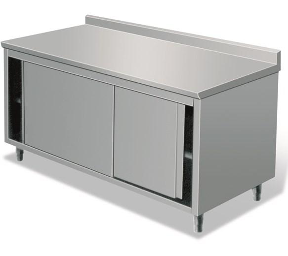 Italinox 1200mm Stainless Steel Floor Cupboard With Upstand and Sliding Doors