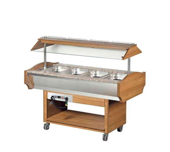 Arisco Heated Buffet Carvery 4 x 1-1 GN Size. Illuminated Sneeze Screen - Gantry
