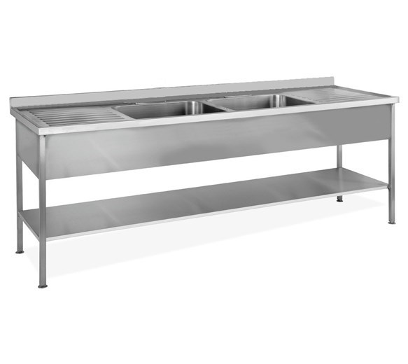 Italinox 2000mm Twin Bowl Stainless Steel Sink with Left and Right Hand Drainers