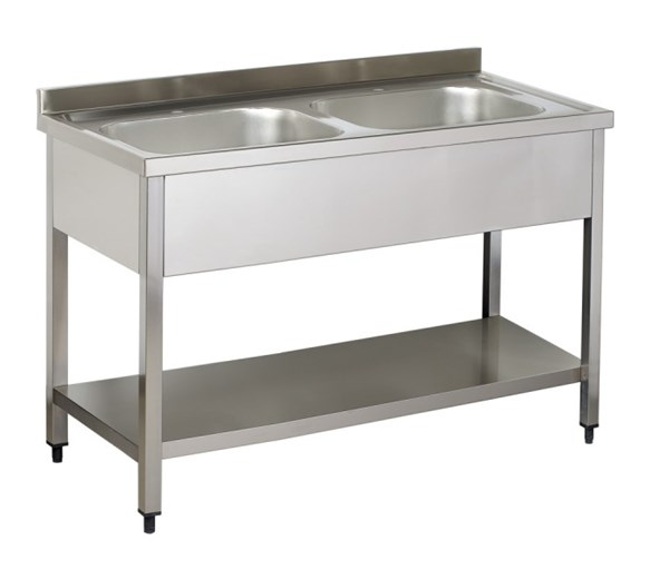 Italinox Premium 1200mm Twin Bowl Stainless Steel Sink With Undershelf