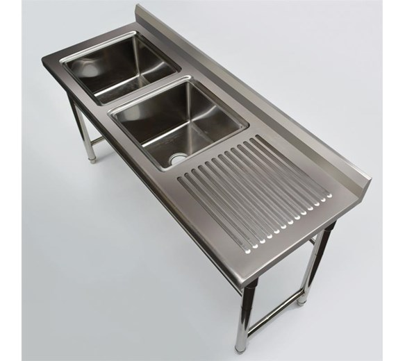 Quattro 1800mm Twin Bowl Stainless Steel Sink Commercial Right Hand Drainer
