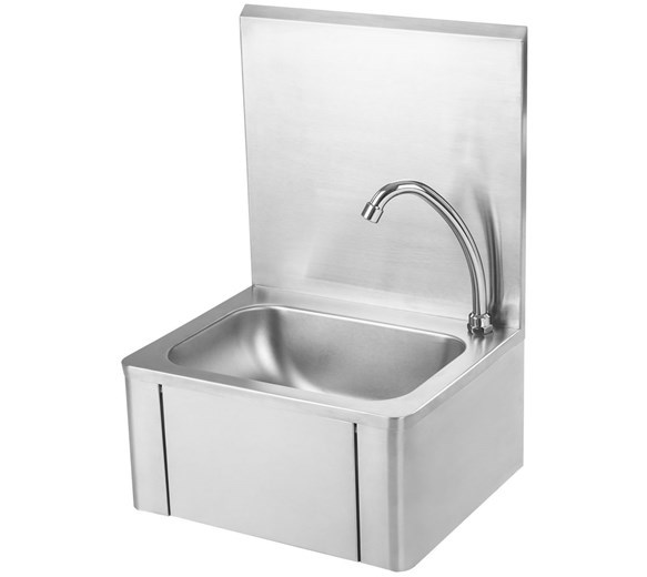 Italinox 400mm Knee Operated Stainless Steel Handwash Sink With Tap & Splashback