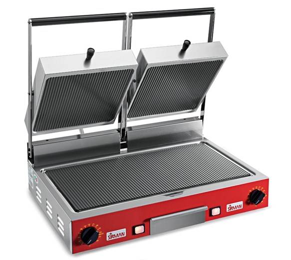 Sirman Ceramic Plate Double Commercial Contact Grill - Ribbed Plates PVDC