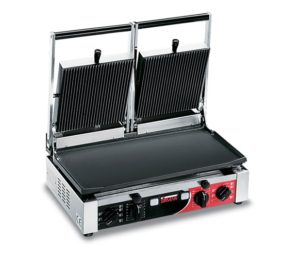 Sirman Heavy Duty Double Contact Grill - Cast Iron Ribbed Top And Flat Bottom Plates PD LR-LR T