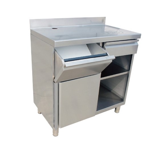 Quattro Stainless Steel Coffee Machine Station with Knock Out Drawer