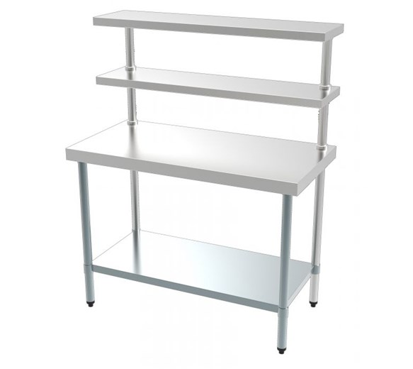 Combisteel 1200mm Wide Stainless Steel Chef's Food Prep Station with Overshelves