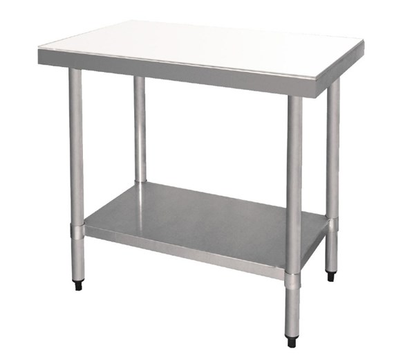 Quattro Stainless Steel 900mm Centre Prep Table with PE Chopping Board