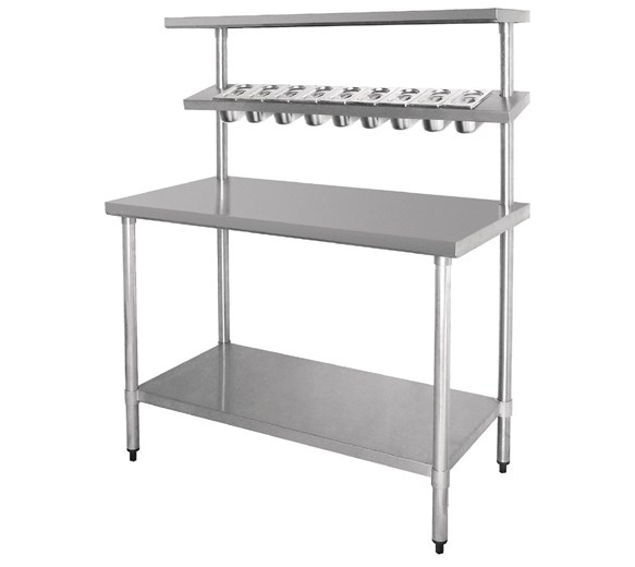 Quattro 1500mm Wide Stainless Steel Chef's Food Prep Table with GN Pan Holder