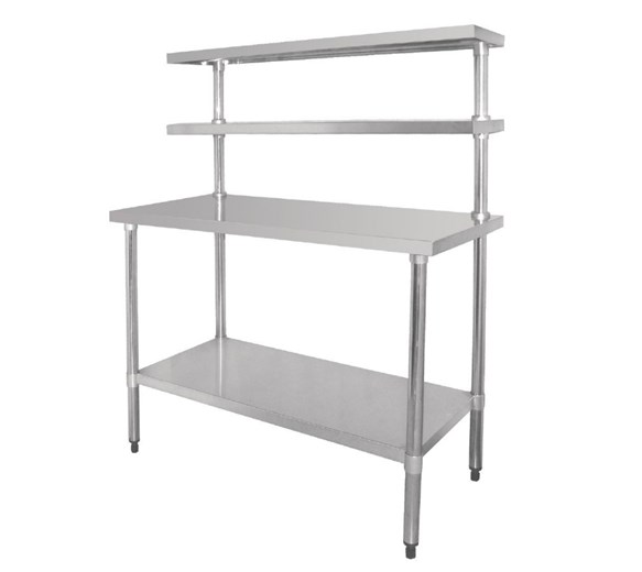 Quattro 1500mm Wide Stainless Steel Chef's Food Prep Station with Overshelves