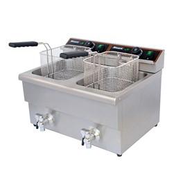 Blizzard 6000W Double Tank Electric Fryer with Drain Taps 2x 8L