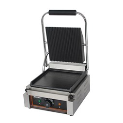 Blizzard 1800W Single Contact Grill Ribbed Top Bottom Smooth