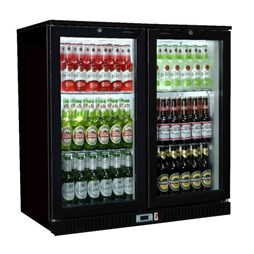 Premium Gastroline Black Double Door Bottle Cooler Back Bar Fridge Hinged Doors